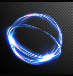 blue circles glow light effect round wave vector image vector image