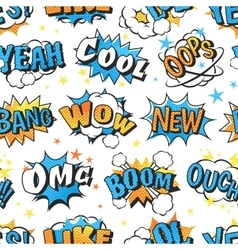 Boom cloud text seamless pattern vector image
