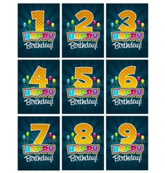 Happy Birthday Numbers vector image vector image