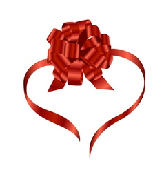 red ribbon and bow vector image vector image