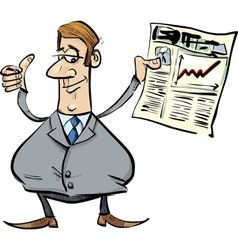 satisfied businessman with newspaper vector image vector image