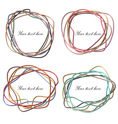 set of hand drawn scribble in elliptical form vector image vector image