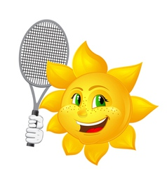 tennis player sun with racket vector image vector image