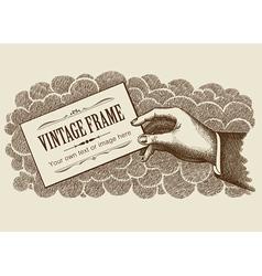 Vintage Frame Background With Hand vector image