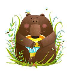 Adorable bear cub eating sweet honey vector