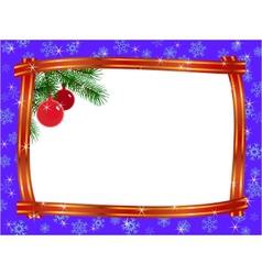 christmas ribbon frame vector image vector image