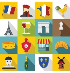 France travel icons set flat style vector image