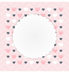 Greeting card with hearts over pink vector image