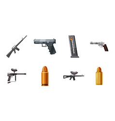 weapons icon set cartoon style vector image