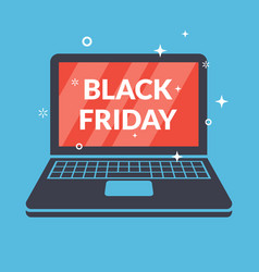 black friday poster with a laptop image vector image vector image