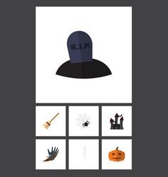 flat icon celebrate set of broom zombie skeleton vector image vector image