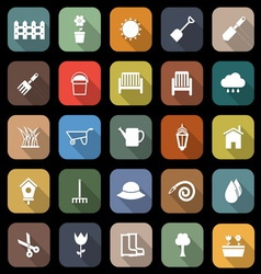 Gardening flat icons with long shadow vector