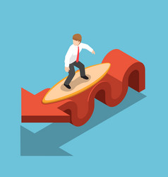 isometric businessman surfing with surfboard on vector image vector image