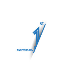 1 anniversary blue cut style isolated on white vector
