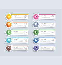 10 data infographics tab paper index template vector