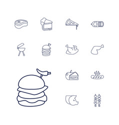 13 meat icons vector