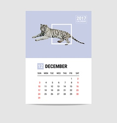 2017 December calendar Tiger polygon vector