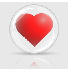 3D red heart in glass ball vector image