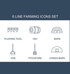 6 farming icons vector