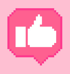 8 bit thumb up icon vector image