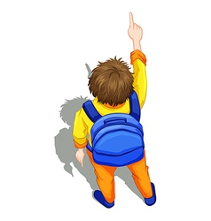 A topview of a boy with a blue backpack vector