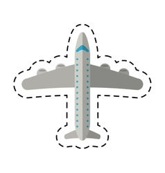 airplane transport flying travel cutting line vector image