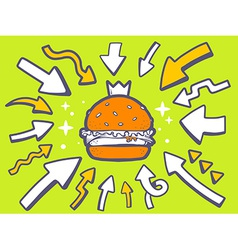 Arrows point to icon of big burger with c vector