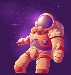 Astronaut showing thumbs up in space vector