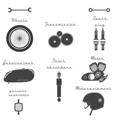 Big set of vintage parts for the bike vector image
