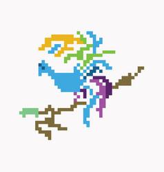 Bird pixel art design vector
