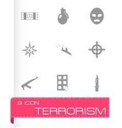 black terrorism icons set vector image