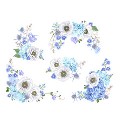 Blue anemone set vector