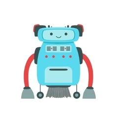 Blue Friendly Android Robot Character With Hair vector