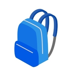 Blue school bag icon isometric 3d style vector