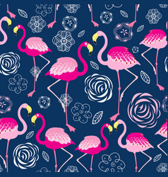 Bright pattern flamingos vector
