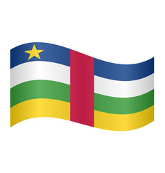 central african republic flag wavy white backdrop vector image vector image