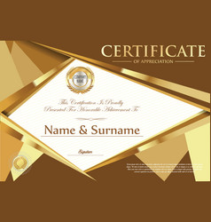 certificate retro design template 3 vector image