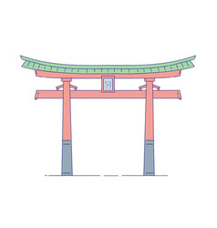 chinese gateway building architectural vector image