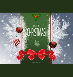 christmas background with green strip and branches vector image