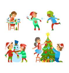 christmas holidays fun evergreen tree decoration vector image