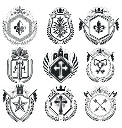 Classy emblems heraldic coat of arms vintage vector