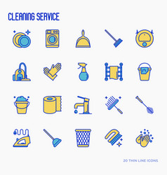 cleaning service thin line icons set vector image