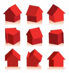Collection of houses red icon vector