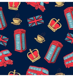 colorful seamless pattern hand-drawn london vector image