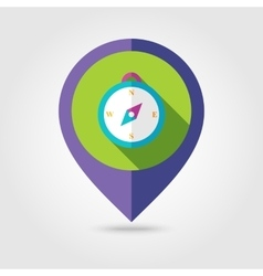 Compass flat mapping pin icon with long shadow vector image