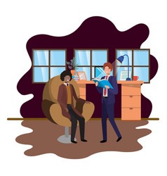 Couple business in work office vector