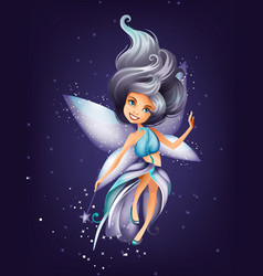 Cute colorful fairy character with magic wand vector