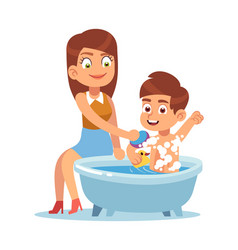 Daily mother mom bathes child mother vector