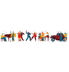 Dancing people in retro style gangster party vector