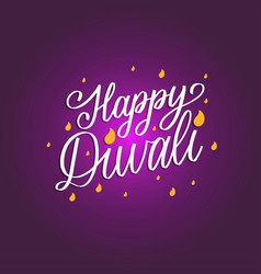 Diwali festival poster with hand lettering vector